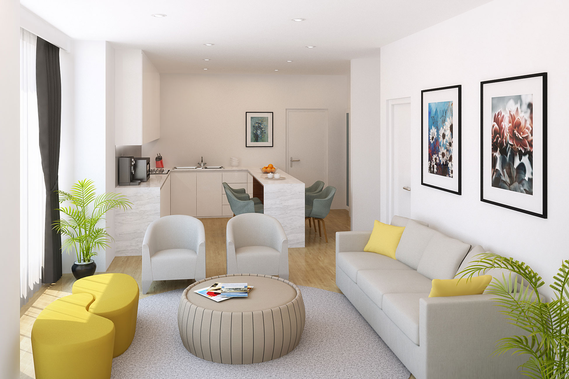 3D CGI design living room