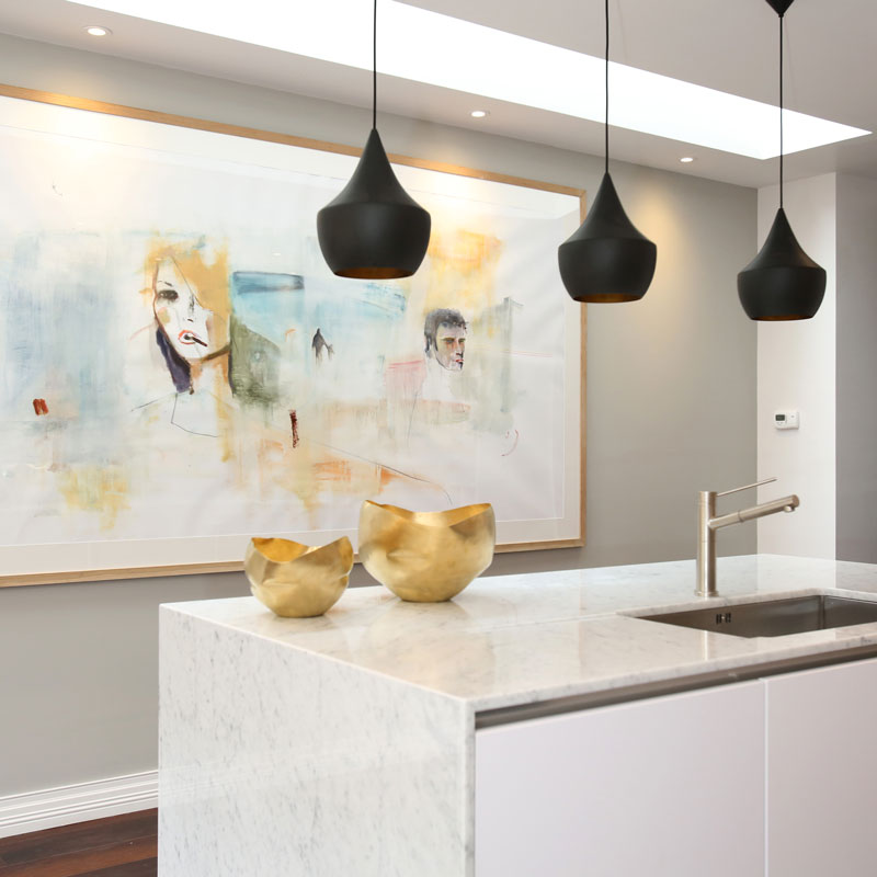 Property photography kitchen + pendant lighting