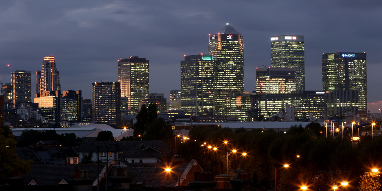 Property photography London city view Canary Wharf