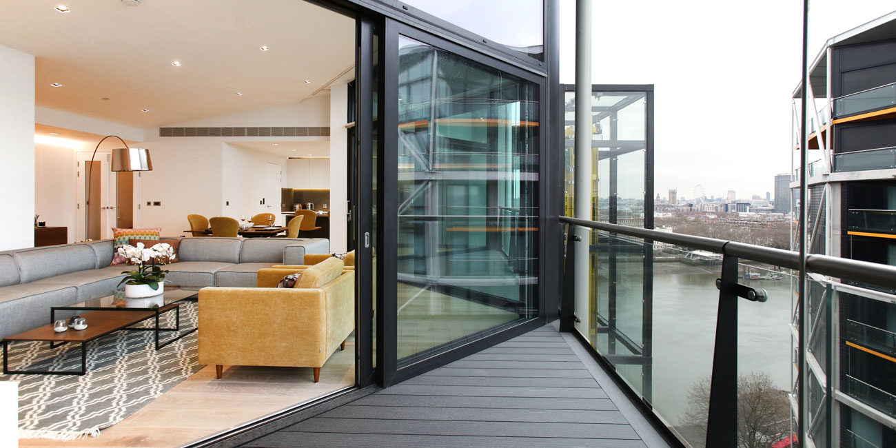 Exterior property marketing photography, London balcony + sliding door