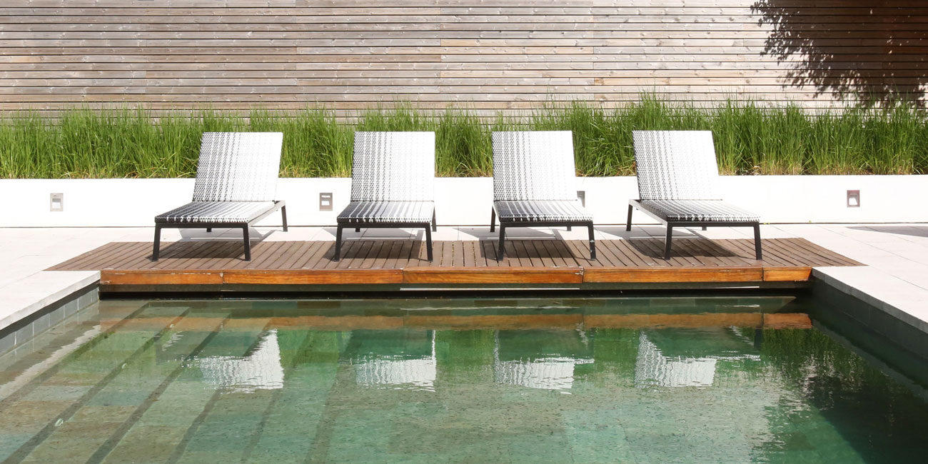 Exterior photography, pool chairs