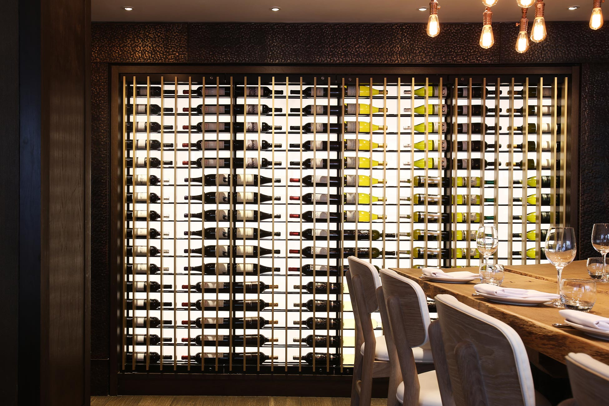 Hotel photography, wine rack detail