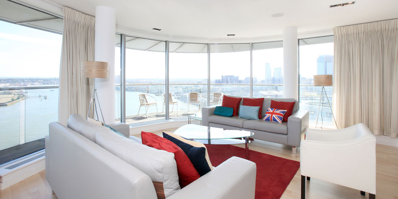 Property photography interior + thameside view London